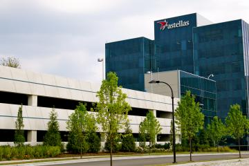 Astellas parking deck with building view