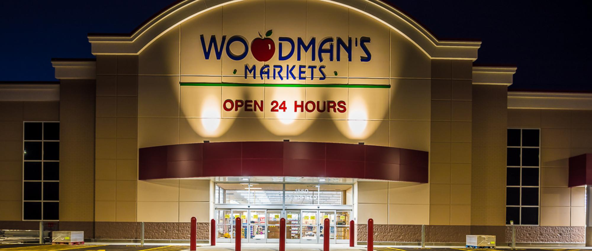Woodman's front at night