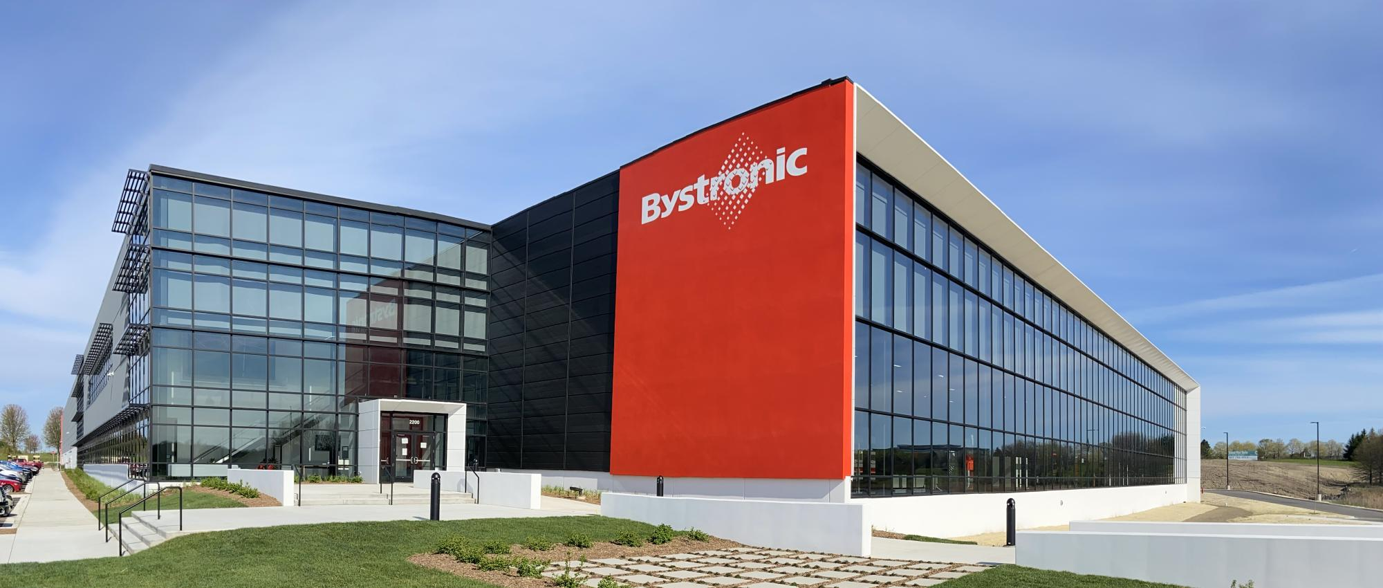 Bystronic building in Hoffman Estates with red entry