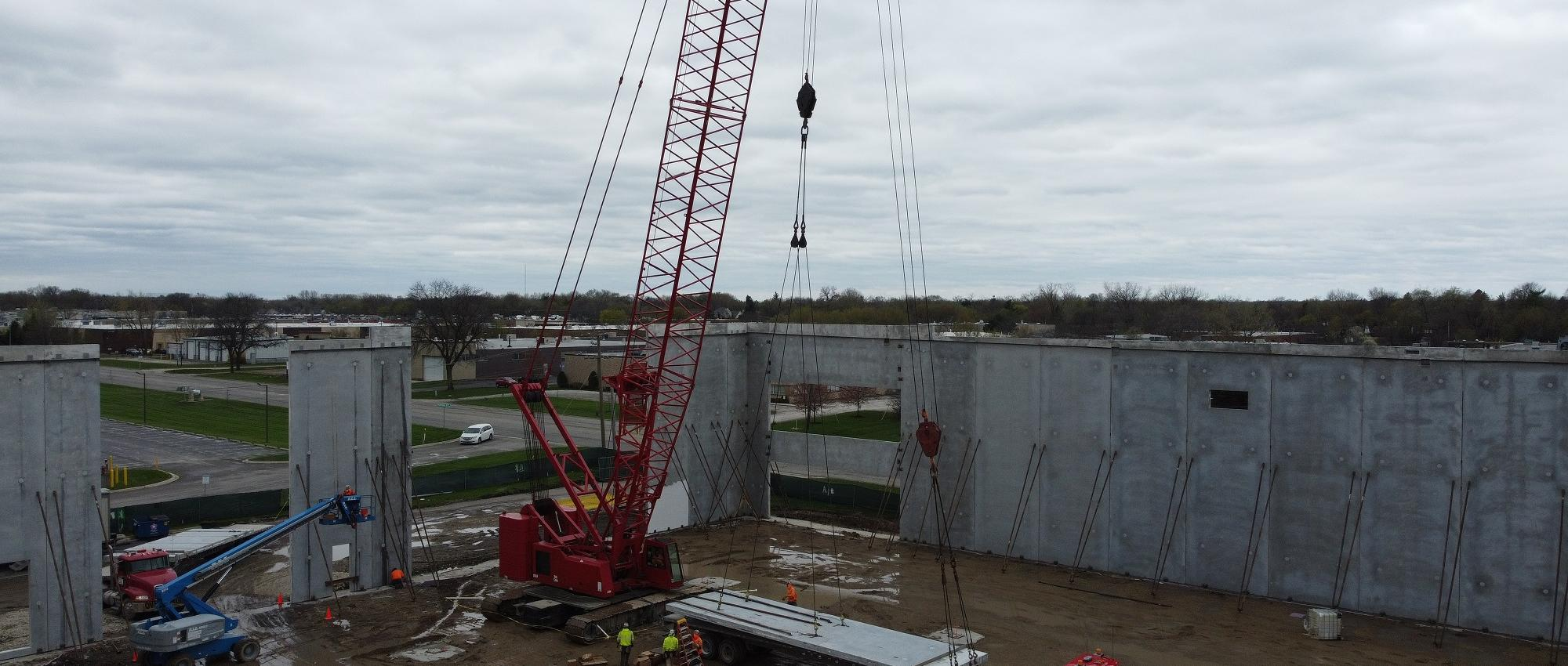 erecting wall panels at Hicks Road in Palatine, IL